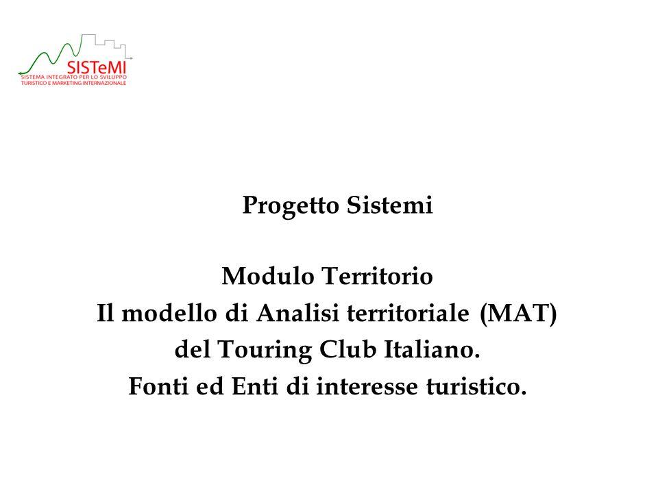 Progetto Sistemi Modulo Territorio Il modello di Analisi territoriale (MAT) del Touring Club Italiano.