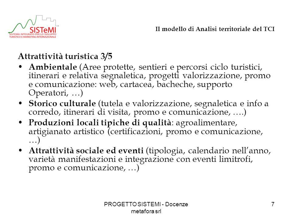 PROGETTO SISTEMI - Docenze metafora srl 18 Il turismo in Provincia: i possibili prodotti turistici Ecoturismo / Turismo attivo Escursionismo a piedi : cfr.