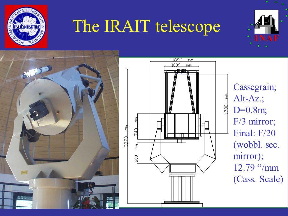 The IRAIT telescope Cassegrain; Alt-Az.; D=0.8m; F/3 mirror; Final: F/20 (wobbl. sec. mirror); 12.79 /mm (Cass. Scale)
