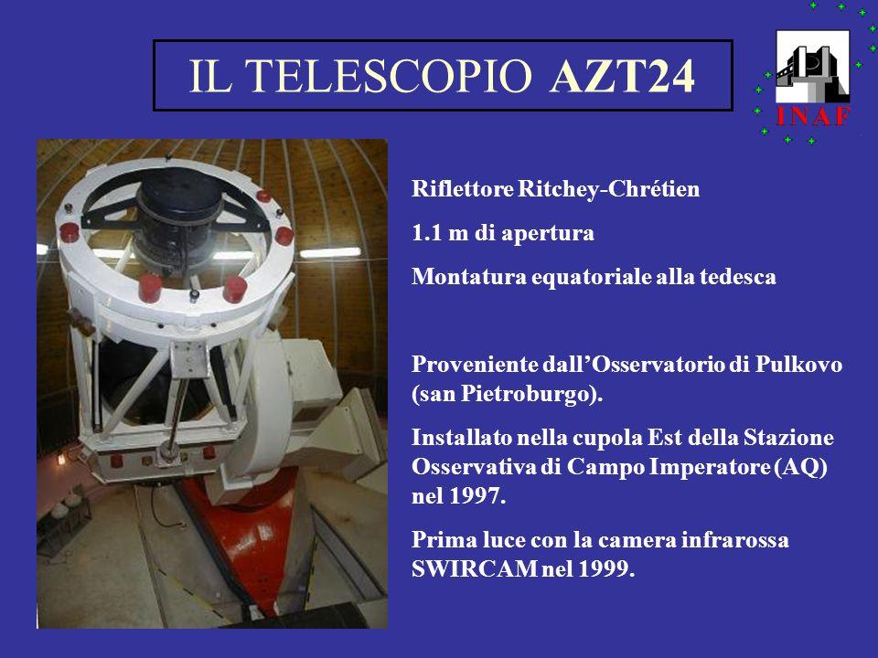 Telescopio AZT24 ConfigurazioneRitchey-Chrétien Campo corretto20 = 46 mm Specchio primario diametro1100 mm focale4553 mm Specchio secondario diametro590 mm distanza dal primario2605.5 mm EFL Cassegrain7971 mm( f / 7.2 ) Montaturaequatoriale alla tedesca Movimentazione telescopiomotori DC Puntamento sistemaencoder assoluti in e risoluzione10 ( sola precisione meccanica ) Velocitàcoarse75 / sec fine15 / sec Massa totale32 tonnellate Massa in movimento24 tonnellate