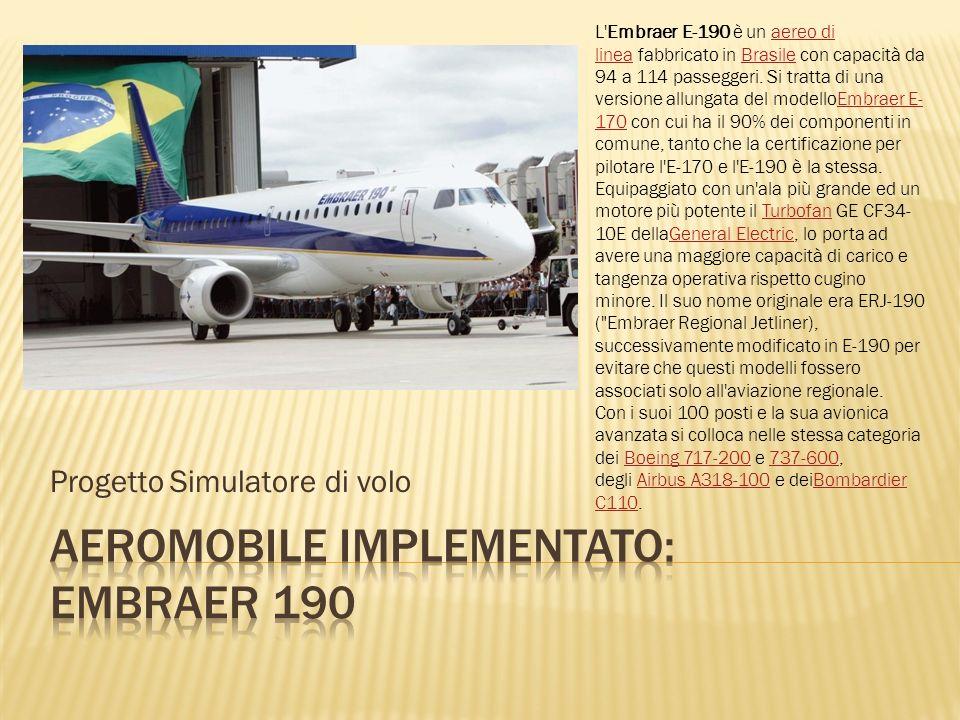 Progetto Simulatore di volo L'Embraer E-190 è un aereo di linea fabbricato in Brasile con capacità da 94 a 114 passeggeri. Si tratta di una versione a