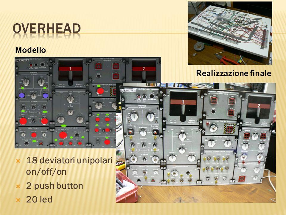 Modello Realizzazione finale 18 deviatori unipolari on/off/on 2 push button 20 led