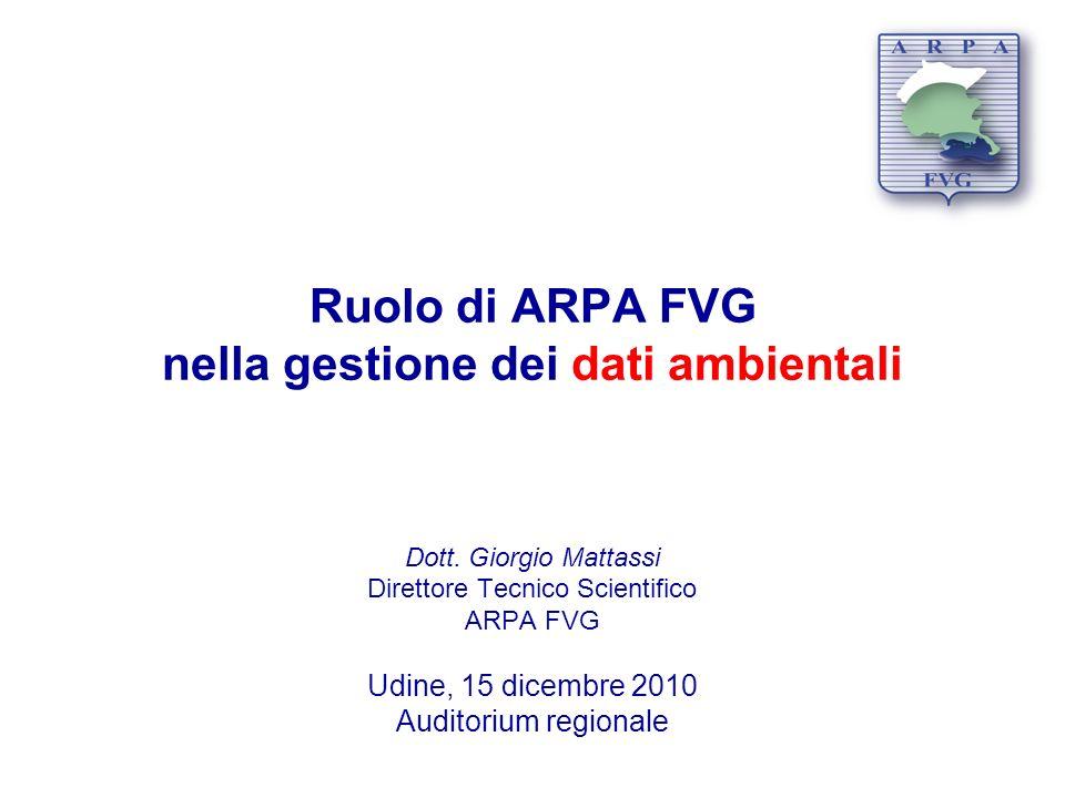 Ruolo di ARPA FVG nella gestione dei dati ambientali Dott. Giorgio Mattassi Direttore Tecnico Scientifico ARPA FVG Udine, 15 dicembre 2010 Auditorium