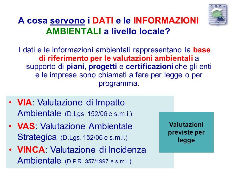 A cosa servono i DATI e le INFORMAZIONI AMBIENTALI a livello locale? I dati e le informazioni ambientali rappresentano la base di riferimento per le v