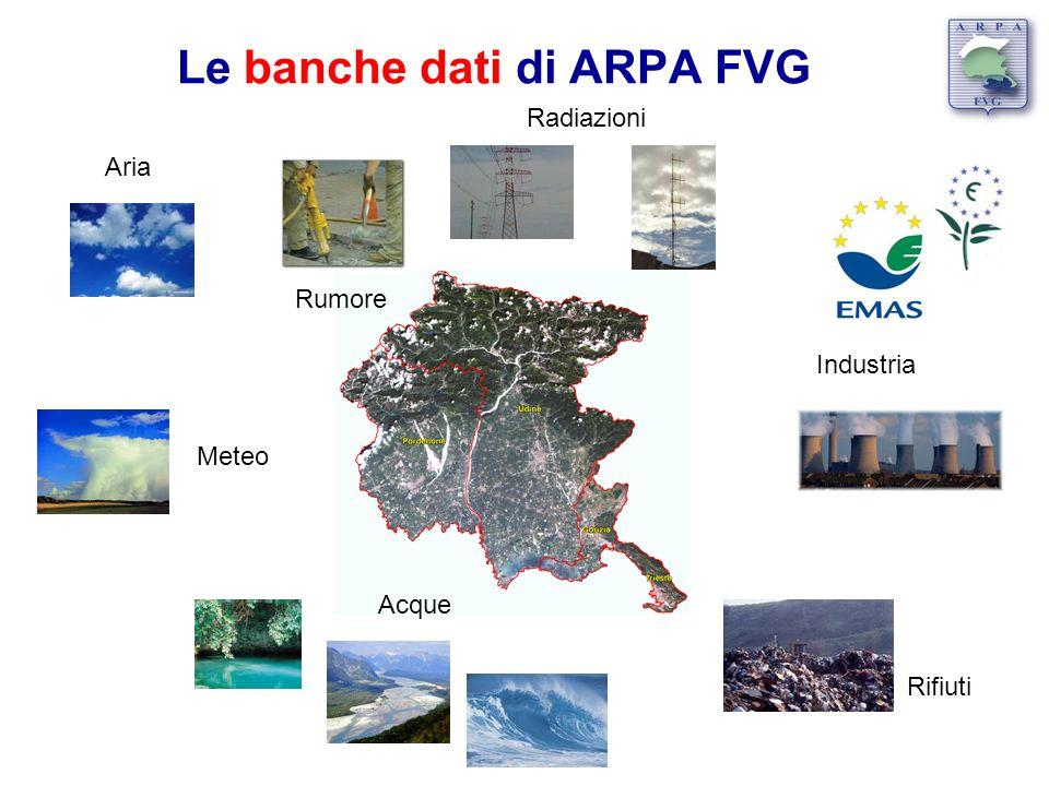 Le banche dati di ARPA FVG Acque Aria Meteo Rumore Radiazioni Rifiuti Industria