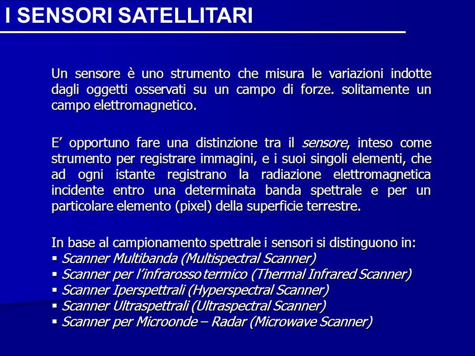 I SENSORI SATELLITARI Un sensore è uno strumento che misura le variazioni indotte dagli oggetti osservati su un campo di forze. solitamente un campo e