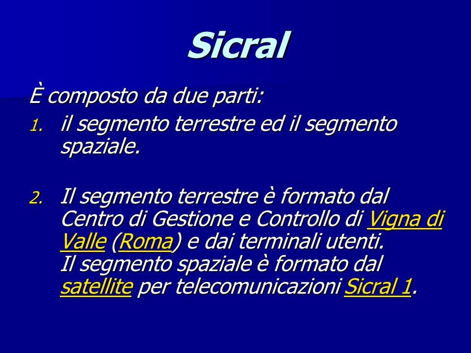 Sicral È composto da due parti: 1. il segmento terrestre ed il segmento spaziale. 2. Il segmento terrestre è formato dal Centro di Gestione e Controll