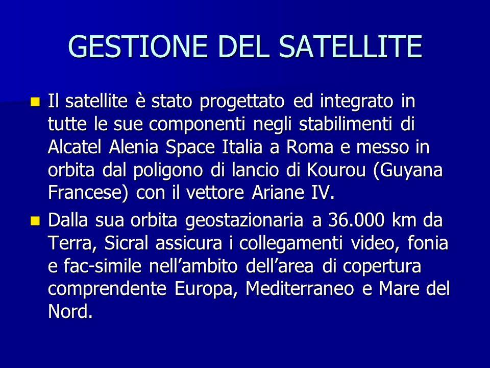 GESTIONE DEL SATELLITE Il satellite è stato progettato ed integrato in tutte le sue componenti negli stabilimenti di Alcatel Alenia Space Italia a Rom