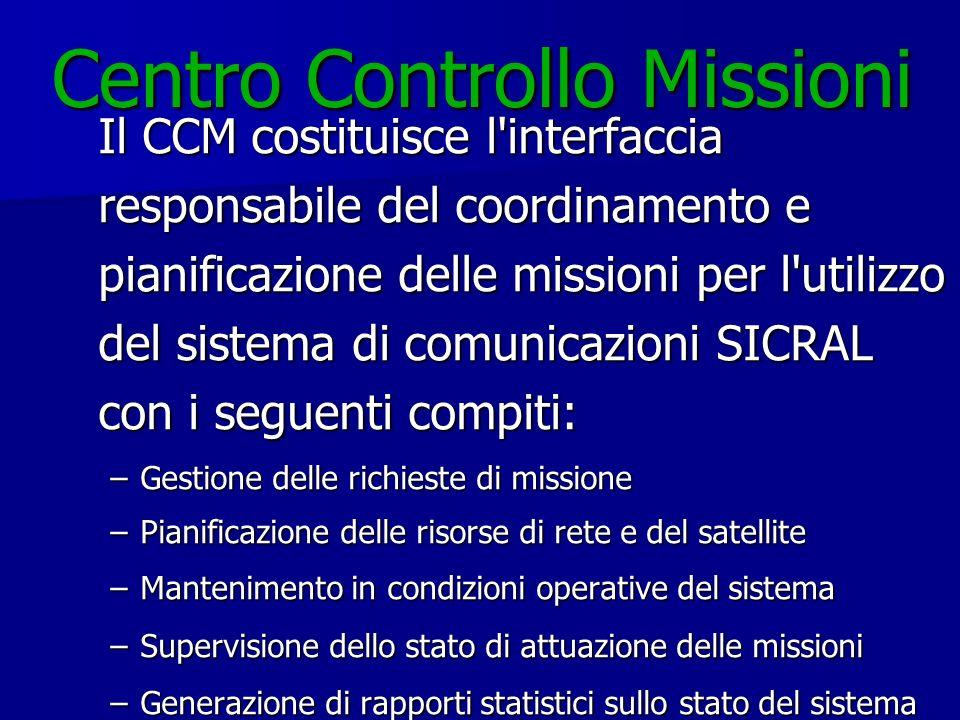 Centro Controllo Missioni Il CCM costituisce l'interfaccia responsabile del coordinamento e pianificazione delle missioni per l'utilizzo del sistema d