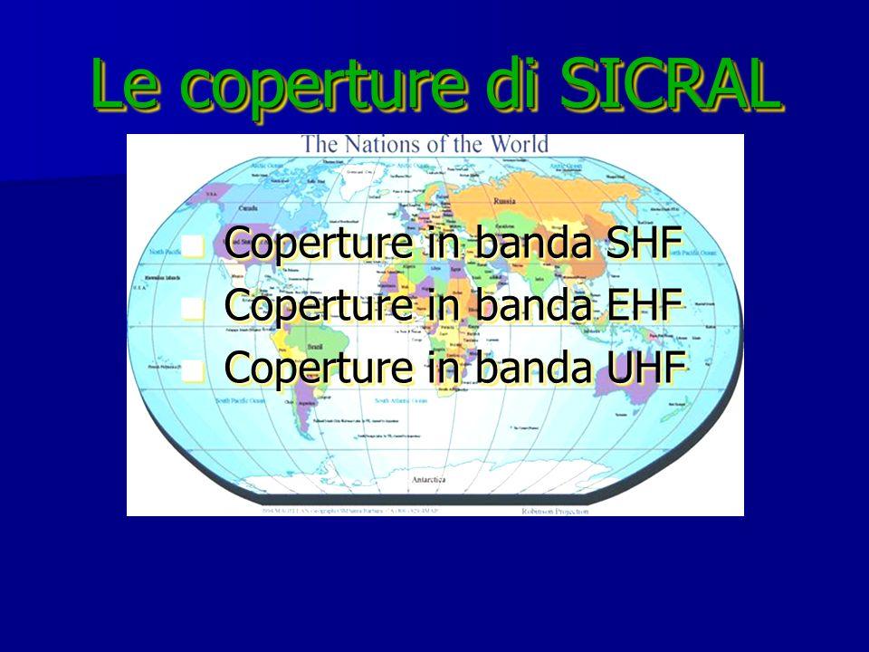 Le coperture di SICRAL Coperture in banda SHF Coperture in banda SHF Coperture in banda EHF Coperture in banda EHF Coperture in banda UHF Coperture in