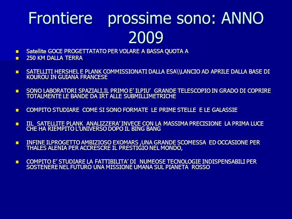 Frontiere prossime sono: ANNO 2009 Satellite GOCE PROGETTATATO PER VOLARE A BASSA QUOTA A Satellite GOCE PROGETTATATO PER VOLARE A BASSA QUOTA A 250 K