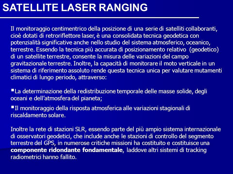 SATELLITE LASER RANGING Il monitoraggio centimentrico della posizione di una serie di satelliti collaboranti, cioè dotati di retroriflettore laser, è