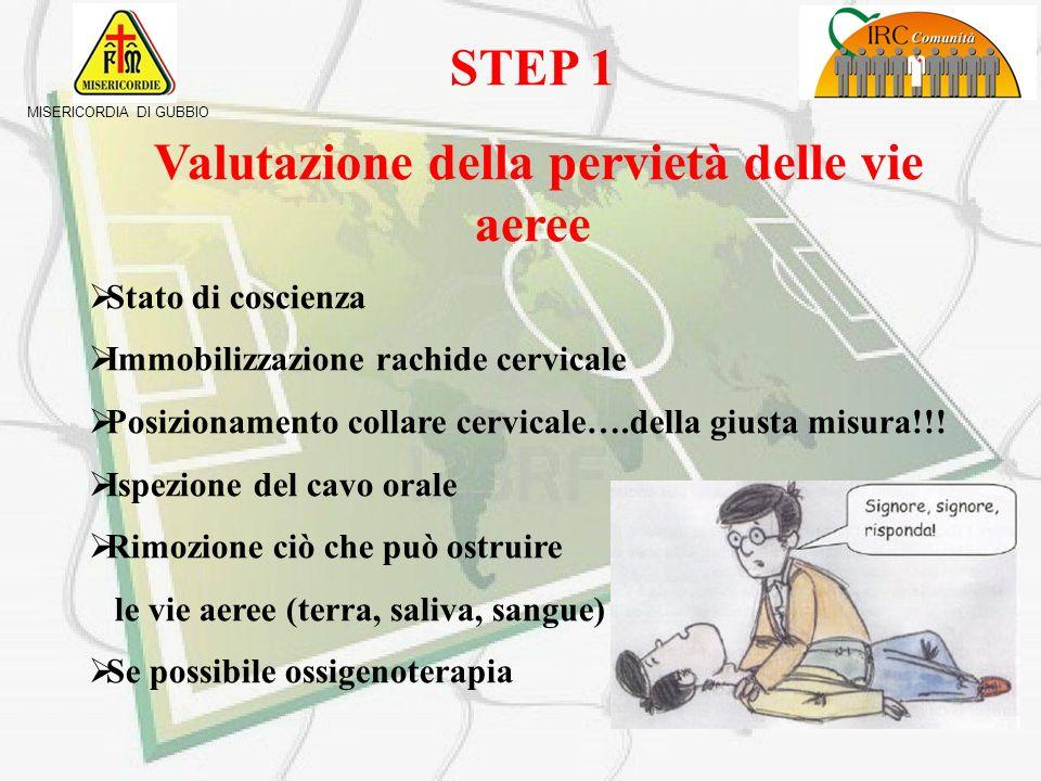 MISERICORDIA DI GUBBIO Valutazione parametri vitali Step 1Pervietà delle vie aeree Step 2Respirazione Step 4Danni neurologici Step 3Circolazione Step