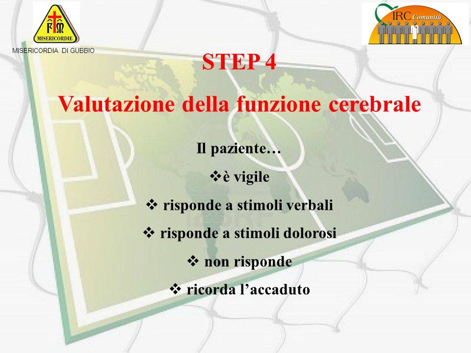 MISERICORDIA DI GUBBIO STEP 3 Valutazione della funzione circolatoria Rilevazione FC (polso radiale) Rilevazione PA Rilevare e tamponare emorragie PRE