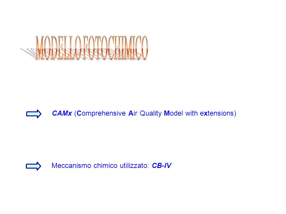 CAMx (Comprehensive Air Quality Model with extensions) Meccanismo chimico utilizzato: CB-IV