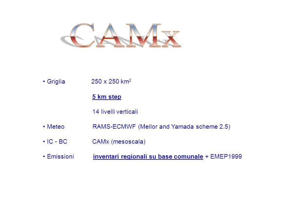 Griglia 250 x 250 km 2 5 km step 14 livelli verticali Meteo RAMS-ECMWF (Mellor and Yamada scheme 2.5) IC - BC CAMx (mesoscala) Emissioni inventari regionali su base comunale + EMEP1999
