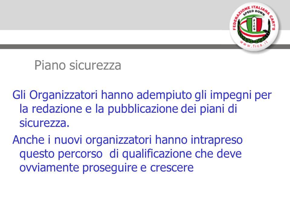 Piano sicurezza Gli Organizzatori hanno adempiuto gli impegni per la redazione e la pubblicazione dei piani di sicurezza.