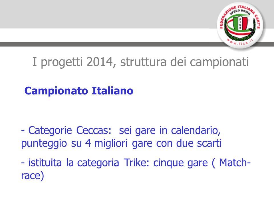 I progetti 2014, struttura dei campionati Campionato Italiano - Categorie Ceccas: sei gare in calendario, punteggio su 4 migliori gare con due scarti - istituita la categoria Trike: cinque gare ( Match- race)