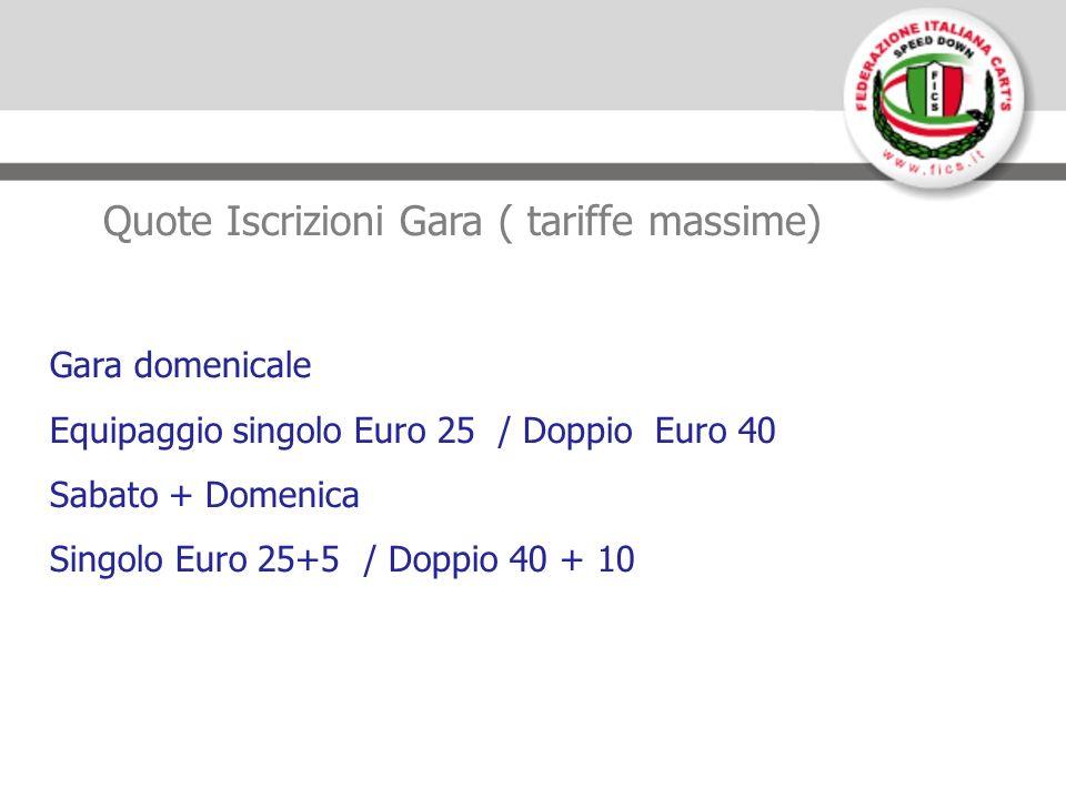 Quote Iscrizioni Gara ( tariffe massime) Gara domenicale Equipaggio singolo Euro 25 / Doppio Euro 40 Sabato + Domenica Singolo Euro 25+5 / Doppio 40 + 10