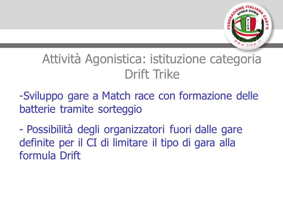 Attività Agonistica: istituzione categoria Drift Trike -Sviluppo gare a Match race con formazione delle batterie tramite sorteggio - Possibilità degli organizzatori fuori dalle gare definite per il CI di limitare il tipo di gara alla formula Drift