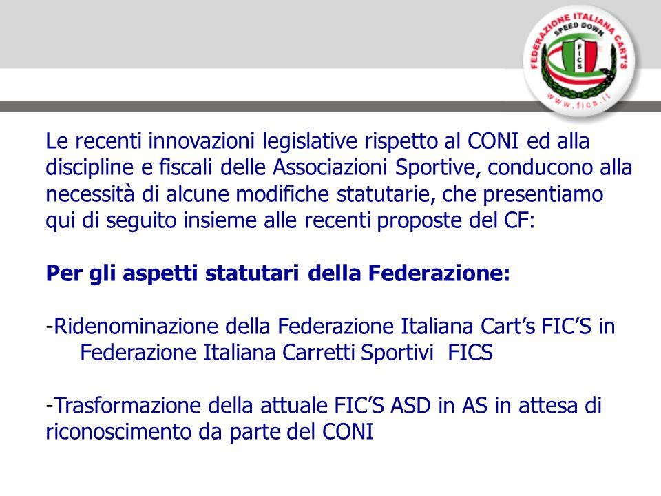 Per gli aspetti operativi: -Rilascio delle licenze sportive da parte della FICS ai Tesserati delle ASA -Costituzione di una ASD di servizi denominata Formula Italia Carretti Sportivi ASD per il rilascio di tessere con copertura assicurativa tramite gli enti di promozione sportiva