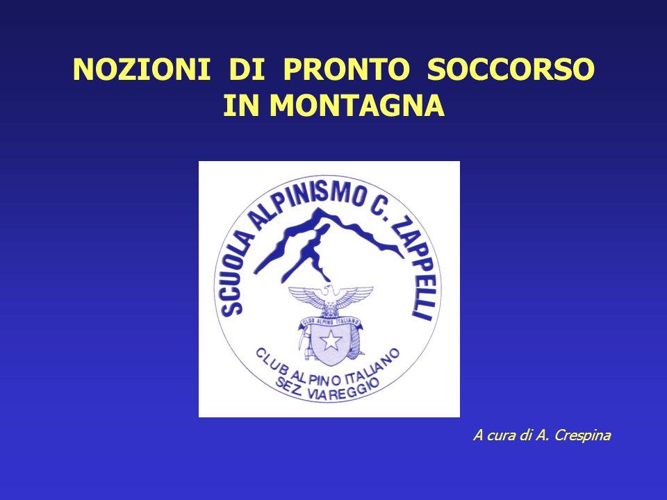 NOZIONI DI PRONTO SOCCORSO IN MONTAGNA A cura di A. Crespina