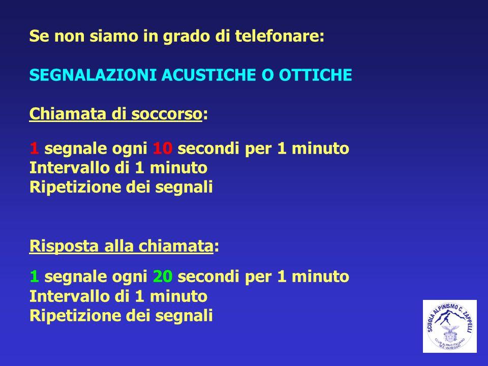 Se non siamo in grado di telefonare: SEGNALAZIONI ACUSTICHE O OTTICHE Chiamata di soccorso: 1 segnale ogni 10 secondi per 1 minuto Intervallo di 1 min