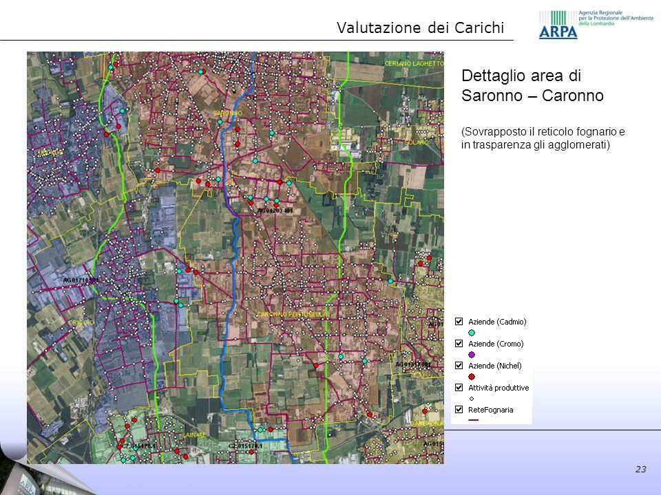 Dettaglio area di Saronno – Caronno (Sovrapposto il reticolo fognario e in trasparenza gli agglomerati) Valutazione dei Carichi 23
