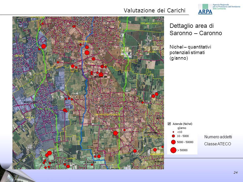 Dettaglio area di Saronno – Caronno Nichel – quantitativi potenziali stimati (g/anno) Valutazione dei Carichi 24 Numero addetti Classe ATECO