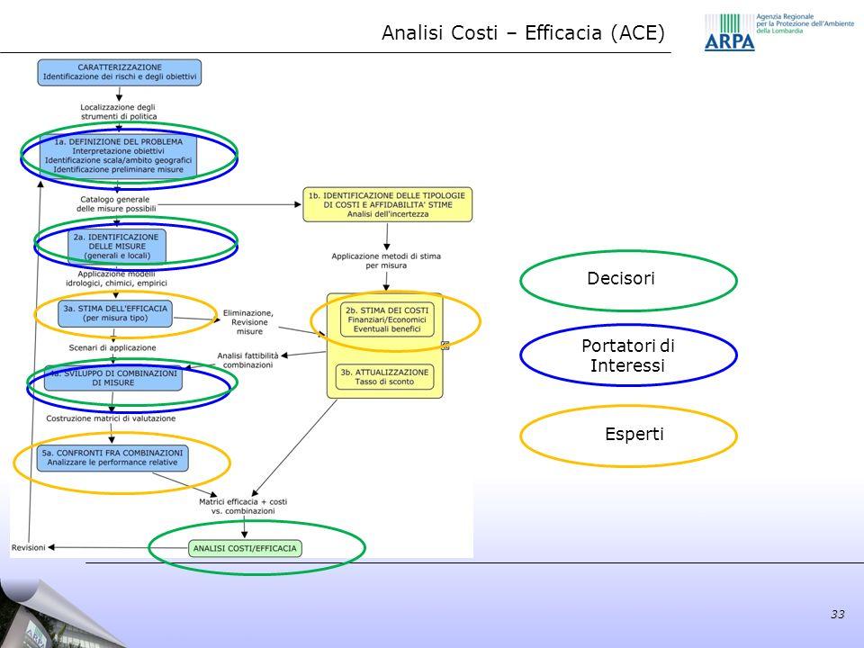 33 Analisi Costi – Efficacia (ACE) Esperti Portatori di Interessi Decisori