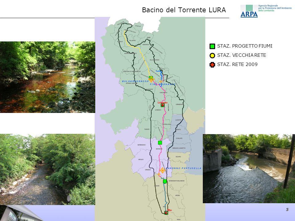 Bacino del Torrente LURA 5 STAZ. PROGETTO FIUMI STAZ. VECCHIA RETE STAZ. RETE 2009 55