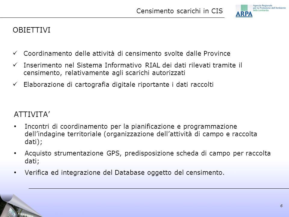 Censimento scarichi in CIS 6 OBIETTIVI Coordinamento delle attività di censimento svolte dalle Province Inserimento nel Sistema Informativo RIAL dei d