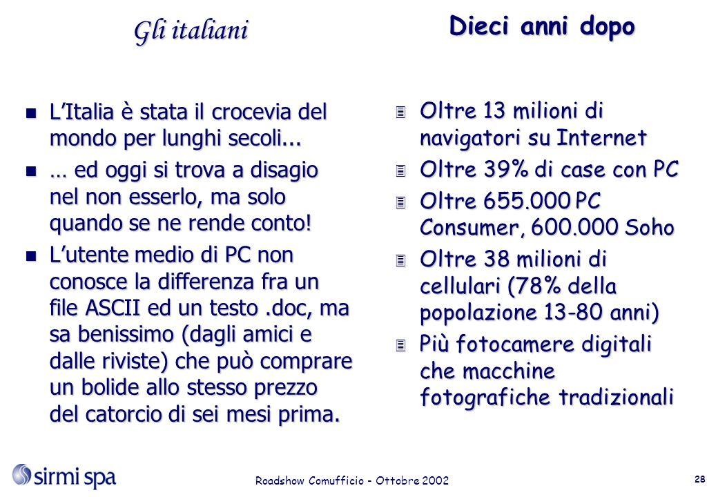 Roadshow Comufficio - Ottobre 2002 28 Gli italiani n LItalia è stata il crocevia del mondo per lunghi secoli...