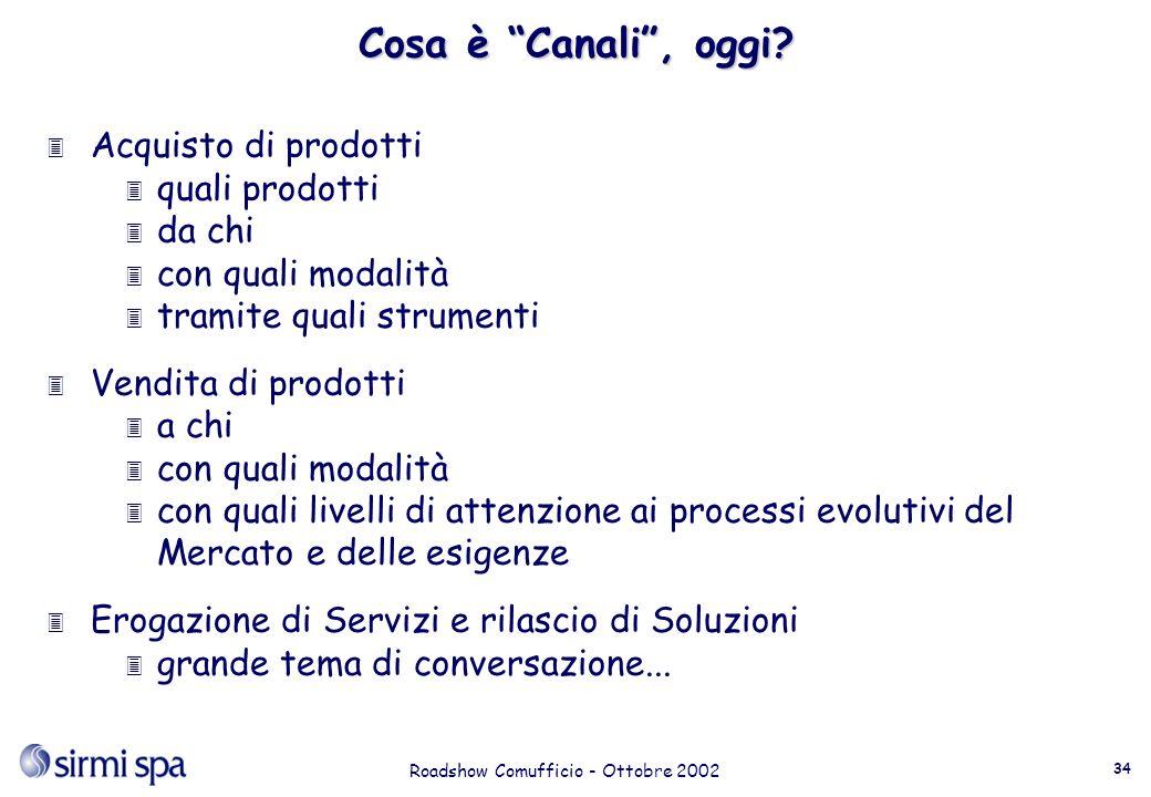 Roadshow Comufficio - Ottobre 2002 34 Cosa è Canali, oggi.
