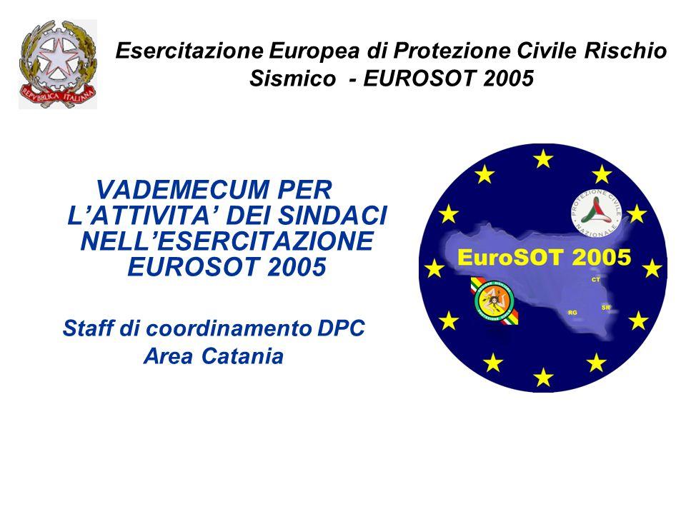 Esercitazione Europea di Protezione Civile Rischio Sismico - EUROSOT 2005 VADEMECUM PER LATTIVITA DEI SINDACI NELLESERCITAZIONE EUROSOT 2005 Staff di coordinamento DPC Area Catania