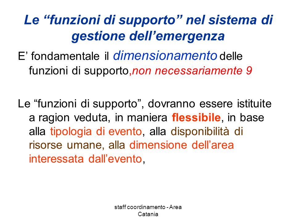 staff coordinamento - Area Catania Le funzioni di supporto nel sistema di gestione dellemergenza E fondamentale il dimensionamento delle funzioni di s