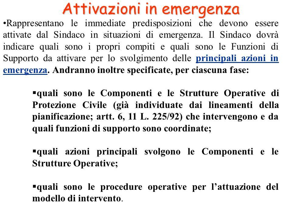 Attivazioni in emergenza Rappresentano le immediate predisposizioni che devono essere attivate dal Sindaco in situazioni di emergenza. Il Sindaco dovr