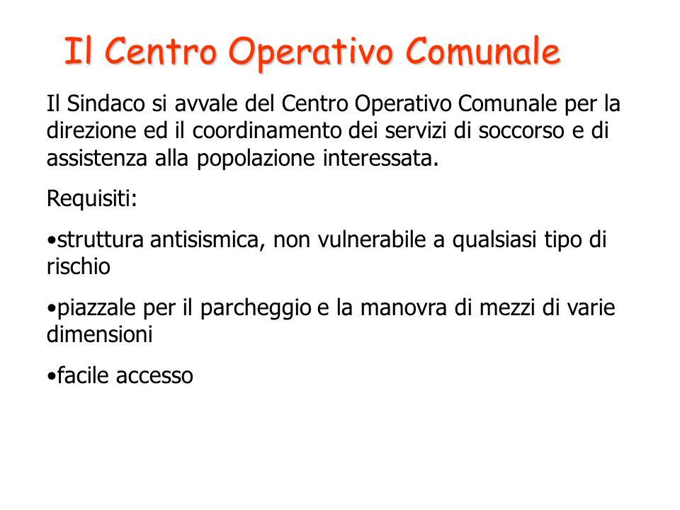 Il Centro Operativo Comunale Il Sindaco si avvale del Centro Operativo Comunale per la direzione ed il coordinamento dei servizi di soccorso e di assi