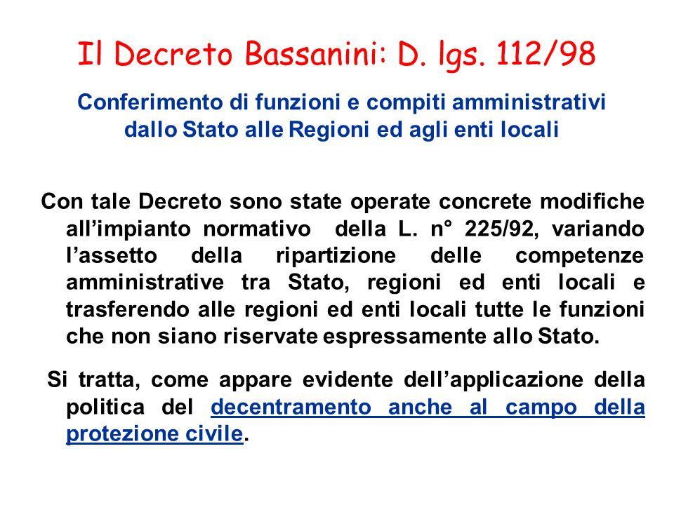 Il Decreto Bassanini: D. lgs. 112/98 Conferimento di funzioni e compiti amministrativi dallo Stato alle Regioni ed agli enti locali Con tale Decreto s
