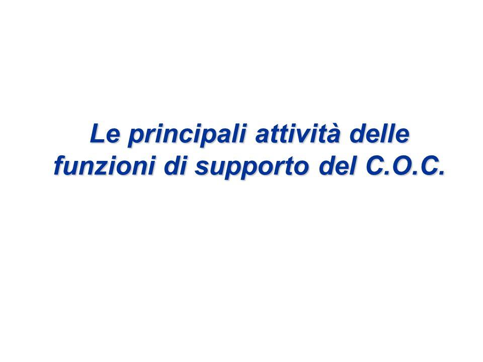 Le principali attività delle funzioni di supporto del C.O.C.