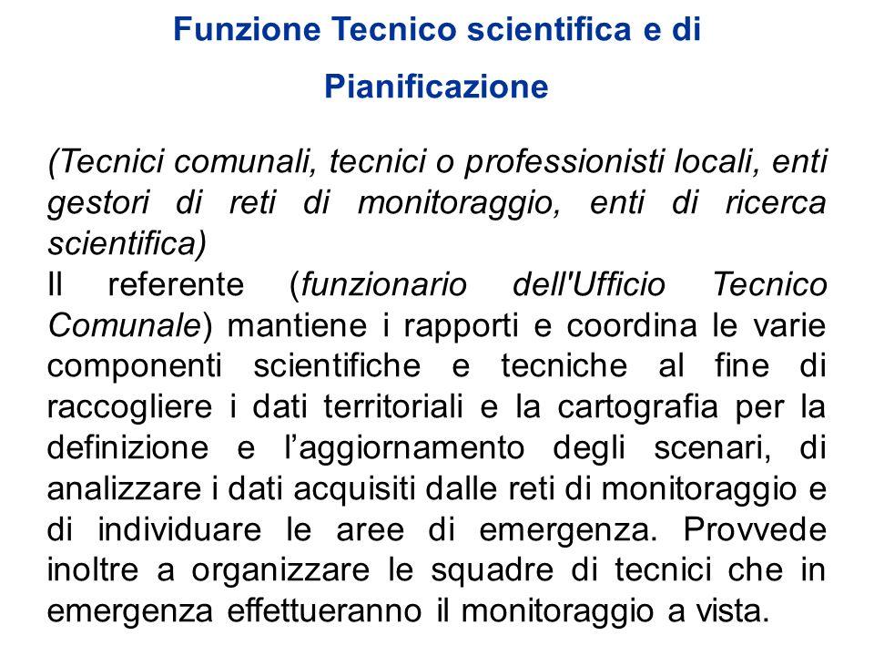 Funzione Tecnico scientifica e di Pianificazione (Tecnici comunali, tecnici o professionisti locali, enti gestori di reti di monitoraggio, enti di ric