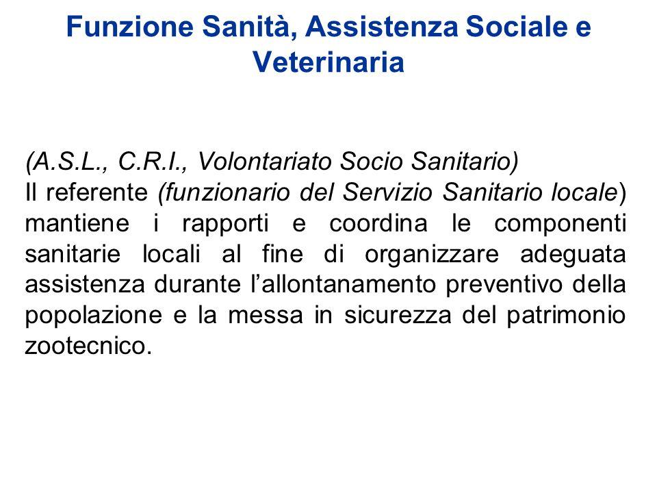 (A.S.L., C.R.I., Volontariato Socio Sanitario) Il referente (funzionario del Servizio Sanitario locale) mantiene i rapporti e coordina le componenti s