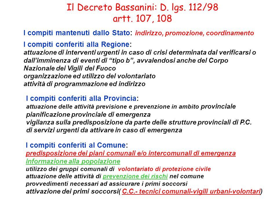 Il Decreto Bassanini: D. lgs. 112/98 artt. 107, 108 I compiti mantenuti dallo Stato: indirizzo, promozione, coordinamento I compiti conferiti alla Reg