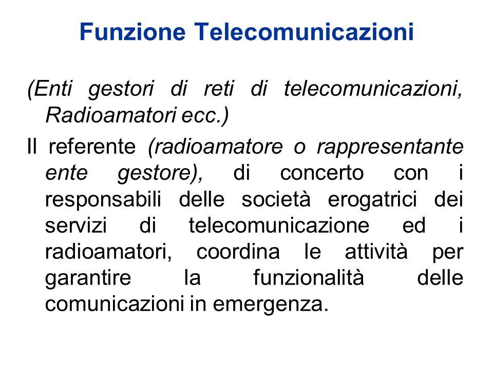Funzione Telecomunicazioni (Enti gestori di reti di telecomunicazioni, Radioamatori ecc.) Il referente (radioamatore o rappresentante ente gestore), d