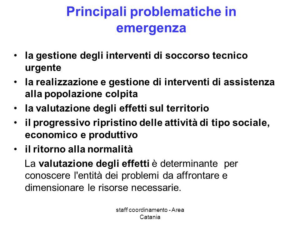 staff coordinamento - Area Catania Principali problematiche in emergenza la gestione degli interventi di soccorso tecnico urgente la realizzazione e g