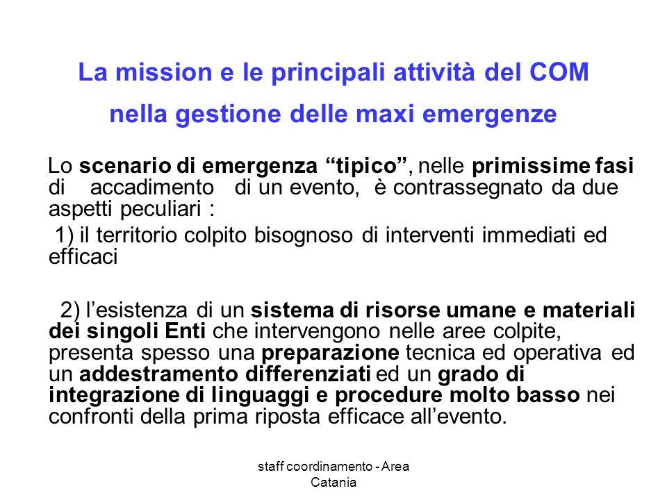 staff coordinamento - Area Catania La mission e le principali attività del COM nella gestione delle maxi emergenze Lo scenario di emergenza tipico, ne