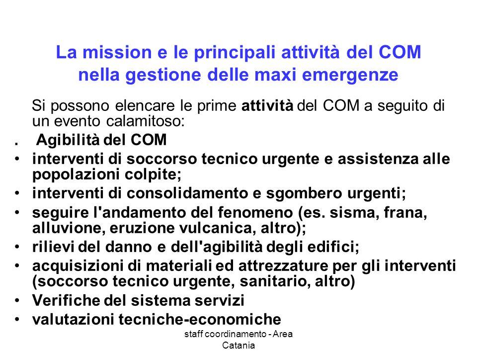 staff coordinamento - Area Catania La mission e le principali attività del COM nella gestione delle maxi emergenze Si possono elencare le prime attivi