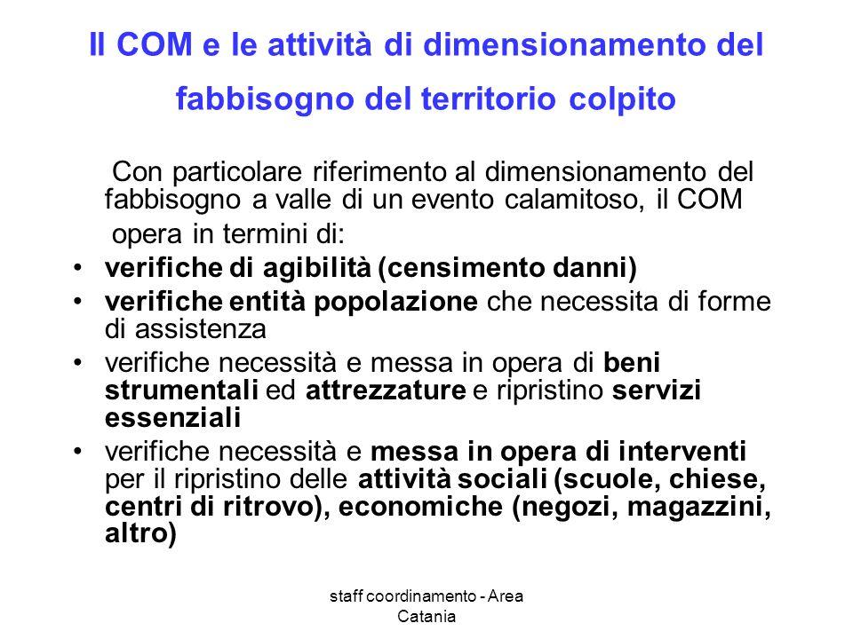 staff coordinamento - Area Catania Il COM e le attività di dimensionamento del fabbisogno del territorio colpito Con particolare riferimento al dimens