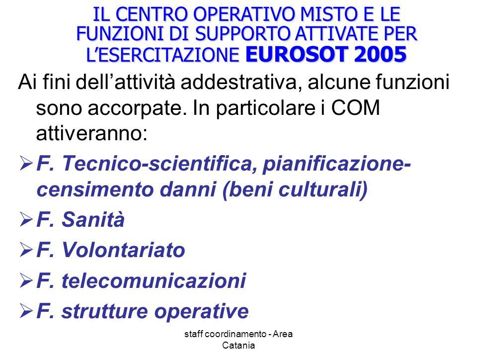 staff coordinamento - Area Catania IL CENTRO OPERATIVO MISTO E LE FUNZIONI DI SUPPORTO ATTIVATE PER LESERCITAZIONE EUROSOT 2005 Ai fini dellattività addestrativa, alcune funzioni sono accorpate.