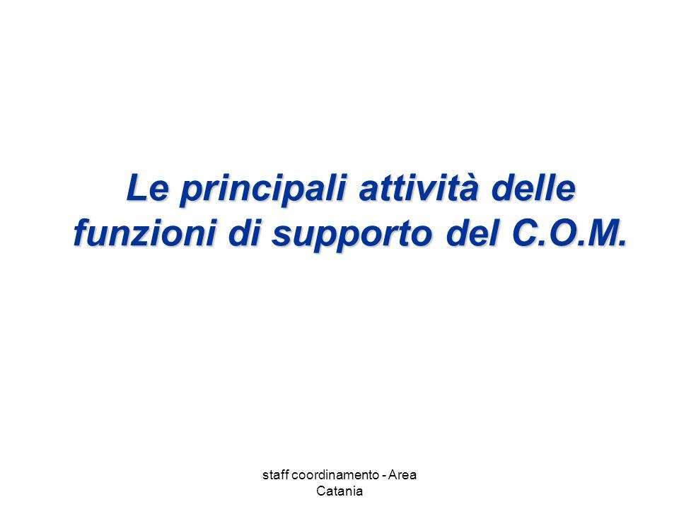 staff coordinamento - Area Catania Le principali attività delle funzioni di supporto del C.O.M.